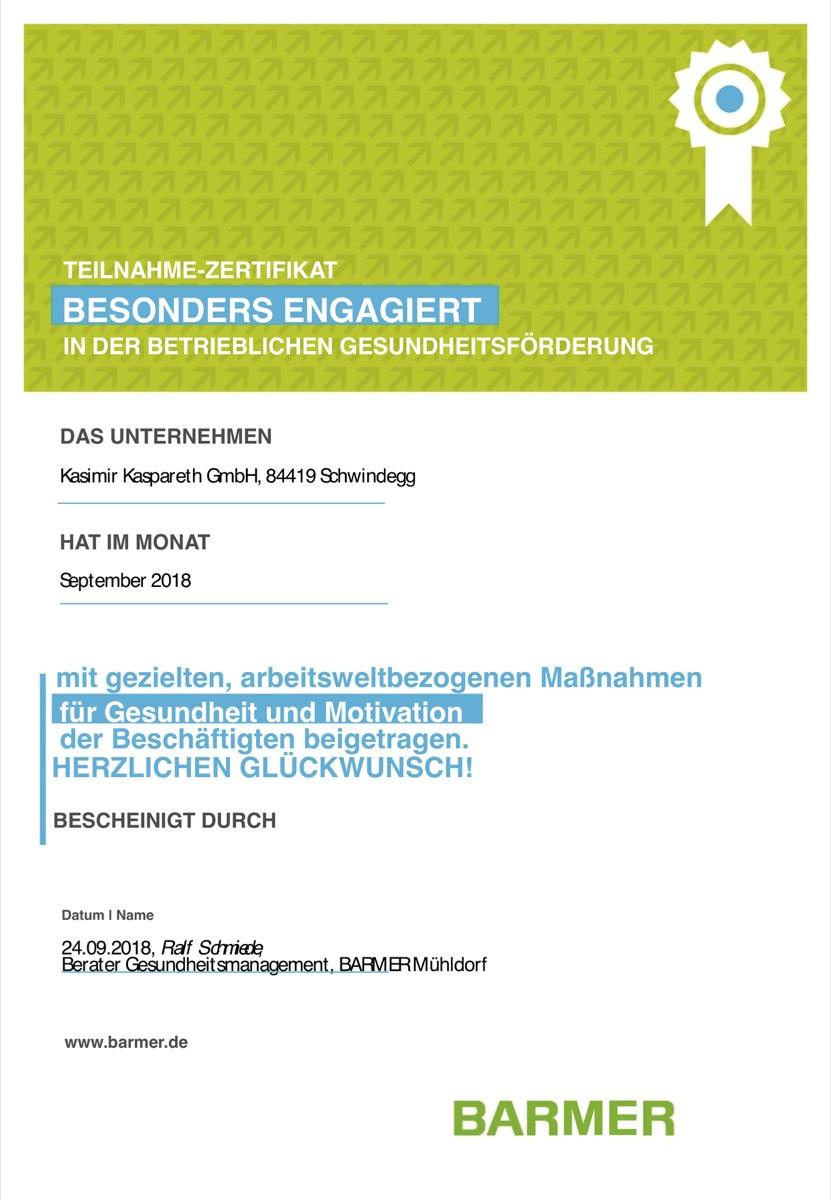 Zertifikat der Barmer